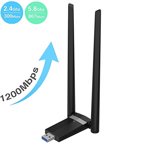 Kyerivs 1200Mbps Wireless USB Wifi Adapter. Long Range 5dBi High-gain Antenna Dual Band WIFI (5GHz 867Mbps/2.4GHz 300Mbps) Supports Windows XP/7/8/10/Mac/Linux by Kyerivs