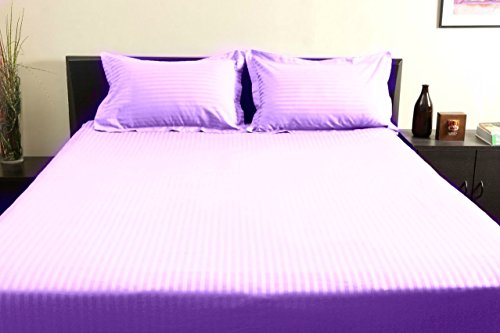"""UPC 889318385777, New Luxurious 100% Egyptian Cotton 400TC Short Queen Size 1PC Fitted Sheet 21"""" Deep Pocket Stripe Lilac"""