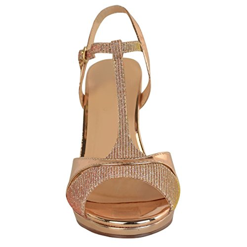 Fashion Thirsty Heelberry® Womens Wedding Party Shoes Ladies Mid High Heels Bridal Sparkly Sandals Size New Rose Gold Metallic leNY9W2rD