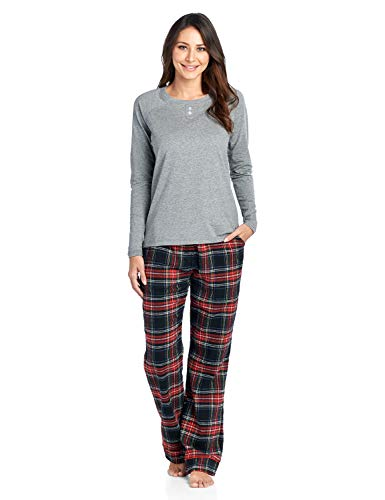 Ashford & Brooks Womens Cotton Long-Sleeve Top and Flannel Bottom Pajama Set - Black Stewart - XX-Large ()