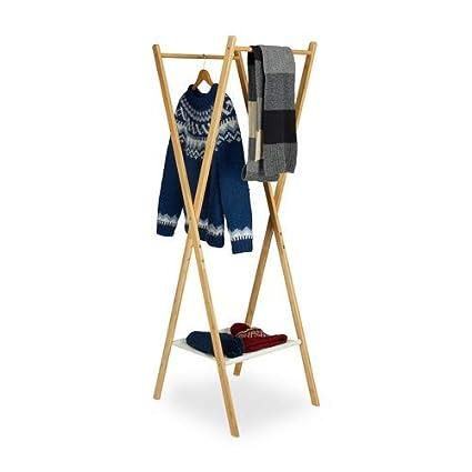 Relaxdays – Perchero de Ropa Plegable Madera Bambú 2 Varillas Ropa Compartimento en Tela HxBxT: 156 x 50 x 50 cm, Naturaleza