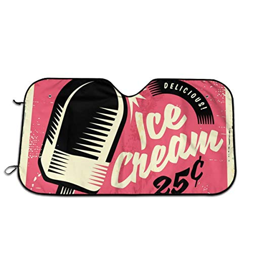 KSIYAF Car Windshield Sunshade with Retro Fifties Tin Sign with Delicious Ice Cream Design,Front Auto Car Windshield Sun Shade Folding Silvering Sun Visor