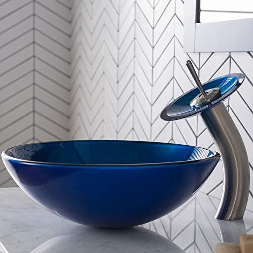 (Kraus C-GV-204-12mm-10SN Irruption Blue Glass Vessel Sink and Waterfall Faucet Satin Nickel)