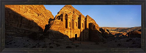Deep shadows at the monastery, Al Deir Temple, Wadi Musa, Petra, Jordan by Panoramic Images Framed Art Print Wall Picture, Espresso Brown Frame, 38 x 14 ()