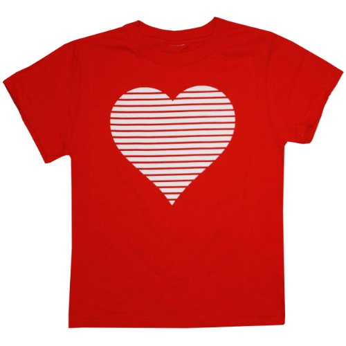 Happy Family Clothig Little Boys' Kid's Retro Stripes Valentine Heart T-Shirt (12 Months, Red)