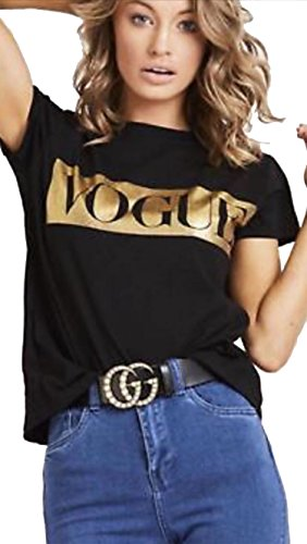 Classy Trendz -Womens Gold Foil Vogue T Shirt Graphic Loose Top (Black, ML) ()