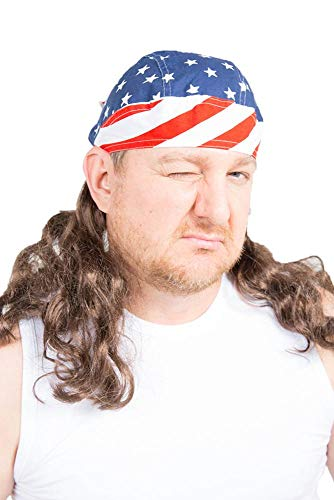 The Freebird Mullet Wig Skull Cap Brown One Size -