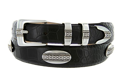 St. Andrews Silver - Italian Alligator Embossed Golf Belt with Conchos (Alligator Black, 46)
