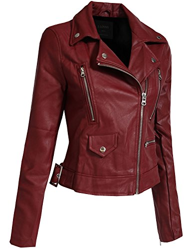 J. LOVNY Women's Fitted Faux Leather Zip Up Moto Jacket with Hoodie