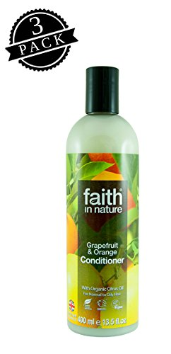 Faith in Nature Conditioner, Grapefruit & Orange (400 ml Bottle, 3-Pack); All-Natural Hydrating Hair Care for Normal to Oily Hair w/Organic Citrus Essential Oil
