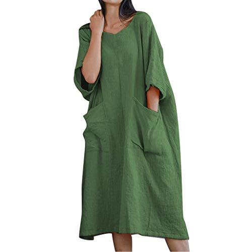 (♛TIANMI Women's Summer Solid Half Sleeve Two Big Pockets Cotton and Linen Loose Dress,Women for Skirt(Green,XXXL))