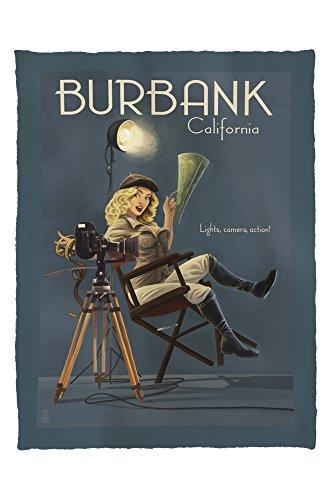 Burbank, California - Directing Pinup Girl (60x80 Poly Fleece Thick Plush - Kids Burbank
