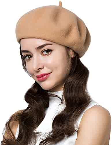 7b1079eeaff57 Exlura 95% Wool Beret Artist Hat French Hat Casual Solid Color Spring  Winter Hat for