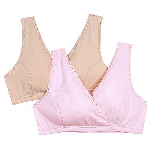 STELLE 3PACK Women's Soft Cotton Wireless Nursing Sleep Bra For Maternity/Breast Feeding (Black+Gray+Beige,M)