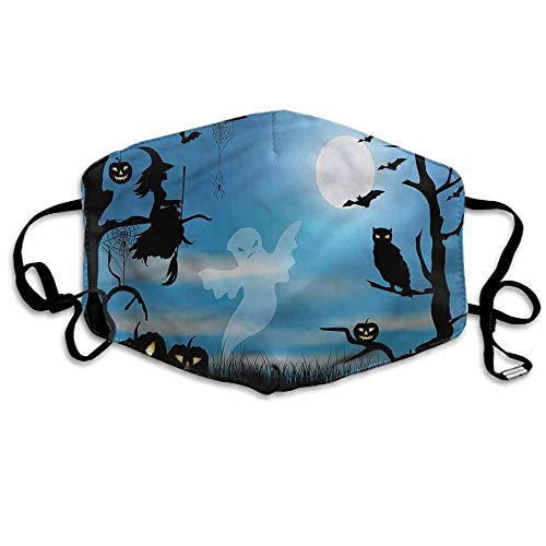 Halloween Fashion Mouth Mask Fantastic Forest at Night for Cycling Camping Travel W4