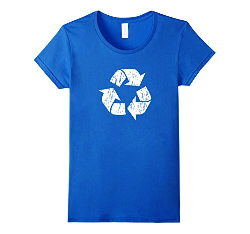 Womens Recycle Symbol Shirt Distressed Earth Day Environment Gift Small Royal Blue (Recycle Symbol)