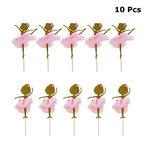 JANOU Gold Glitter Ballerina Dancing Girl Cake Toppers Cake Picks Desserts Decor with 3D Pink Skirts for Birthday Wedding Baby Shower Party Favors Pack ()