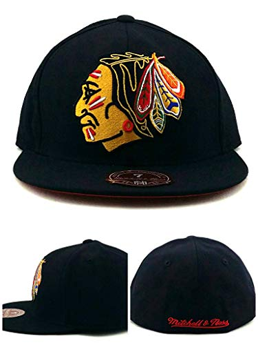 Mitchell & Ness Chicago Blackhawks New Retro XL Logo Black Red Fitted Era Hat Cap -