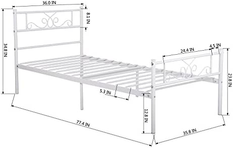SimLife Single Bed Platform Kids Boys Adult No Box Spring Needed Princess White Twin Size Bed Frame with Headboard and Footboard Mattress Foundation 41Y4 2BQDQRqL