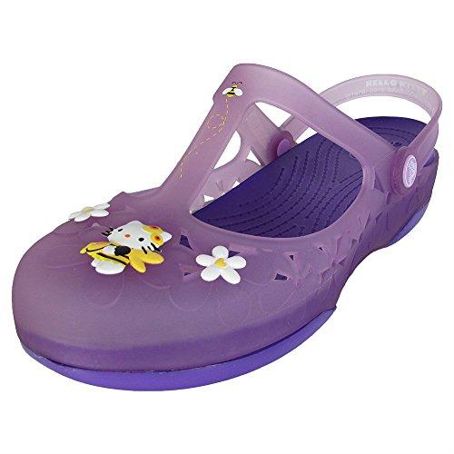 Crocs Womens Carlie Mary Jane Flower Hello Kitty Shoes, Iris/Neon Purple, US 8