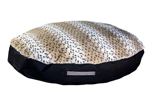 GoodDogBeds Faux Fur Round Dog Bed, 28-Inch, Lynx