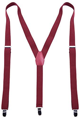 CEAJOO Men's Suspenders Adjustable Y Back 55 Inches Wine Red -