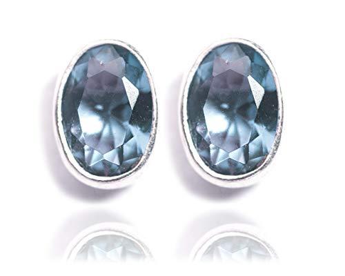 Gempro 925 Silver Blue Crystal Stud Earrings for Women  Blue