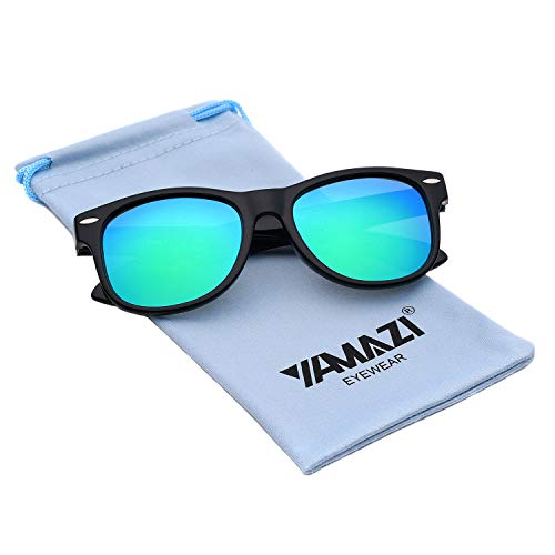 YAMAZI Kids Polarized Sunglasses Sports Fashion For Boys And Girls Mirrored Lens (Black | Green lens, ()