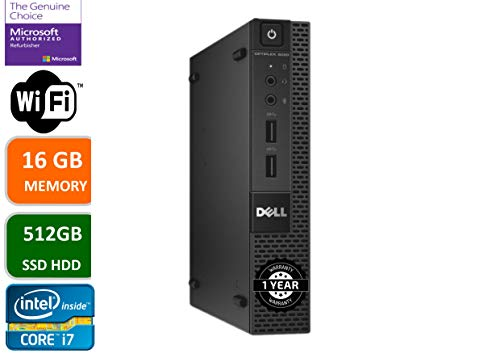 Dell Optiplex 9020 Ultra Small Tiny Desktop Micro Computer PC (Intel Core i7-4770S, 16GB Ram, 512GB Solid State SSD, WiFi, Bluetooth, HDMI Win 10 Pro (Renewed)