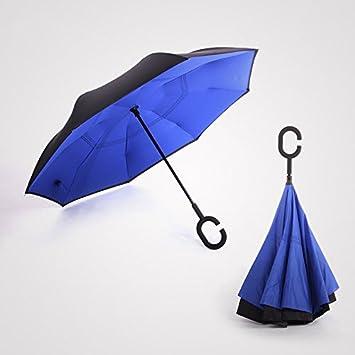 kinine kazbrella Creative c-handheld paraguas de marcha atrás inversa doble sol plegable paraguas