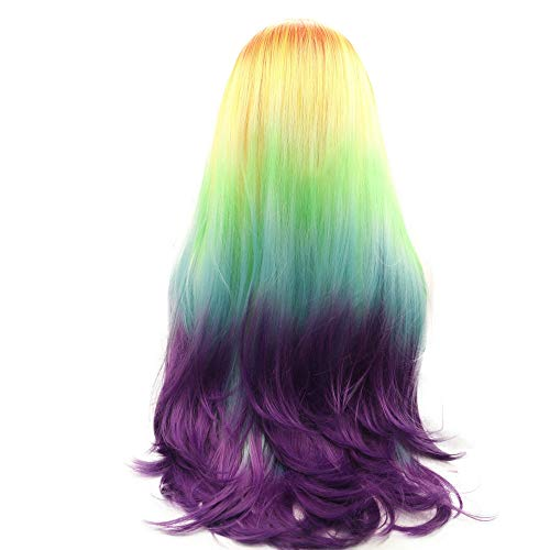 Colorful Wig Synthetic Hair Orange Yellow Green Blue