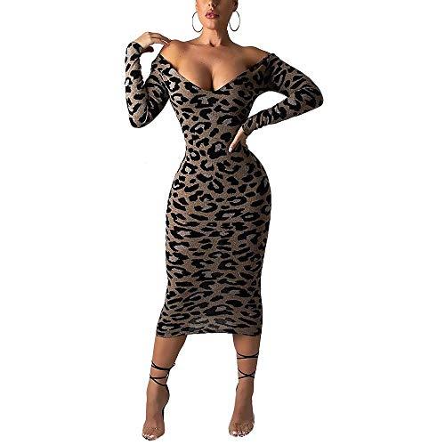 (Sprifloral Women's Sexy Deep V Neck Long Sleeve Leopard Print Bodycon Midi Dress)