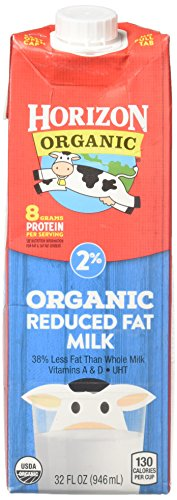 Horizon Organic, 2% Reduced Fat Organic Milk, 32 Ounce (Pack of 6), Shelf Stable Reduced Fat Organic Milk, Great for the Pantry, Carton Locks in Fresh Taste Without Refrigeration or Preservatives