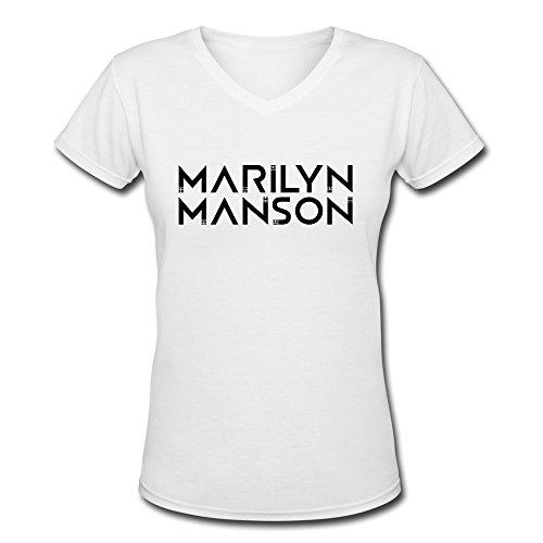 JeFF Women Marilyn?manson V-Neck Shirts Large