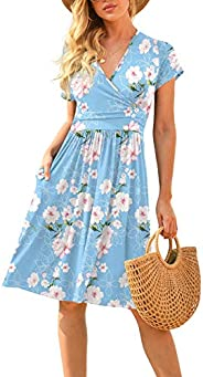 LILBETTER Women's Summer Casual Short Sleeve V-Neck Short Party Dress with Poc