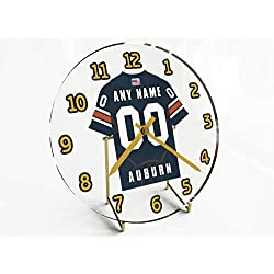 FanPlastic College Football USA - We're Number ONE American Football Desktop/Table Clocks - Support Your Team !!! (Auburn Tigers)