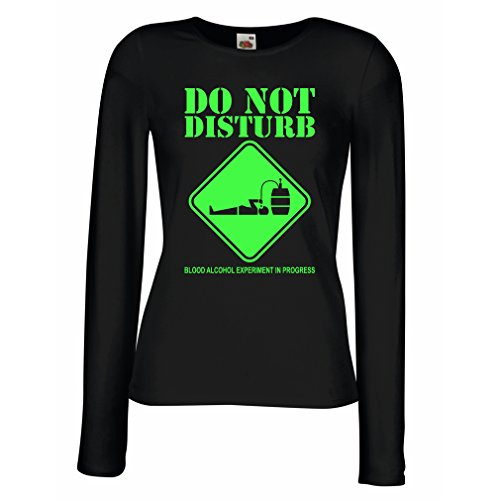 Camisetas de Manga Larga para Mujer Experimento del alcohol de la sangre en curso - diver tee shirts Negro Verde
