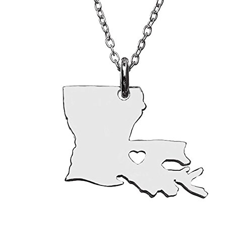 18K Gold Silver Country Map Charm Pendant Louisiana state Map Necklace Jewelry (Silver)