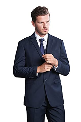 Men's Two Buttons Single-breasted Notch-lapel Slim Fit Suit Coat Jacket blazer Navy 36R - Breasted Navy Blazer
