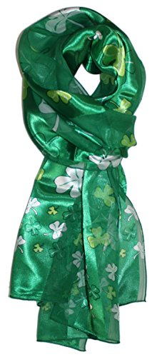 Ted and Jack – Luck of The Irish St. Patrick's Day Scarf in Green Shamrock Allover