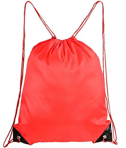 Mato & Hash Basic Drawstring Tote Cinch Sack Promotional Backpack Bag - 20PK Red CA2500 - 2