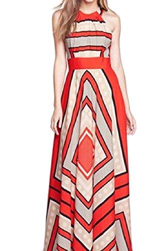 Chiffon Coolred Sleeveless Straps Print Women Red Stripes Length Full Dress Flower rqERrwP