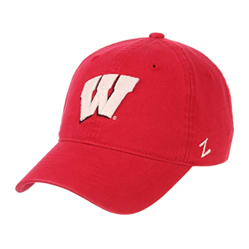 Zephyr Cotton Cap - Zephyr NCAA Mens Relaxed Fit Scholarship- Adjustable Cotton Crew Hat Cap-Wisconsin Badgers