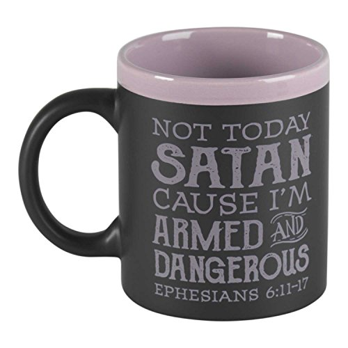 Not Today Satan, I'm Armed Black With Lavender 11 Ounce Ceramic Coffee Mug