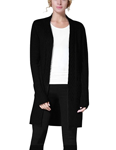 Rocorose Women's Ribbed Knit Cardigan Sweater with Pockets Black - Womens Knit Ribbed Cardigan