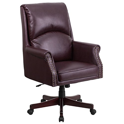 A Line Furniture CEO Pillow Back Executive Burgundy Leather Adjustable Swivel Office Chair with Mahogany Wood Base (Task Multi Burgundy Chair)