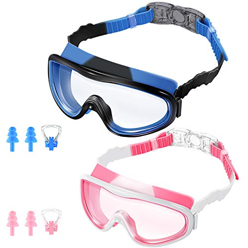 KNGUVTH Kids Swim Goggles, Pack of 2 No Leaking Swimming Goggles Anti-Fog UV Protection Crystal Clear Wide Vision Swim Glasses with Nose Clips + Ear Plugs for Children Early Teens ()