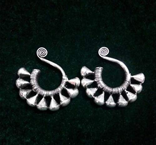 (EASTCODE Wholesale -hot >>Charming Tibet Tribal Jewelry Miao Silver Big Hollow Earrings Pair)