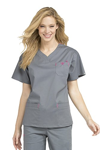 (Med Couture 8401 Women's Sport Neckline Solid Scrub Top Steel/Cotton Candy S)