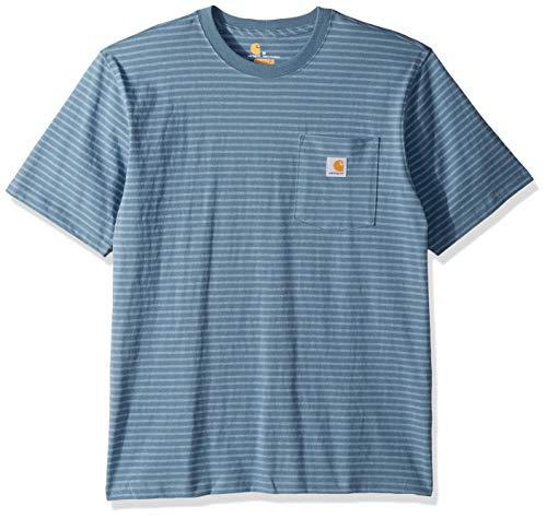 Carhartt Men's K87 Workwear Pocket Short Sleeve T-Shirt (Regular and Big & Tall Sizes), Steel blue stripe, 2X-Large